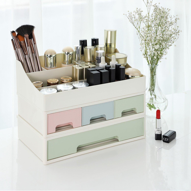 Songmics Organizador de maquillaje con diseño 3 en 1