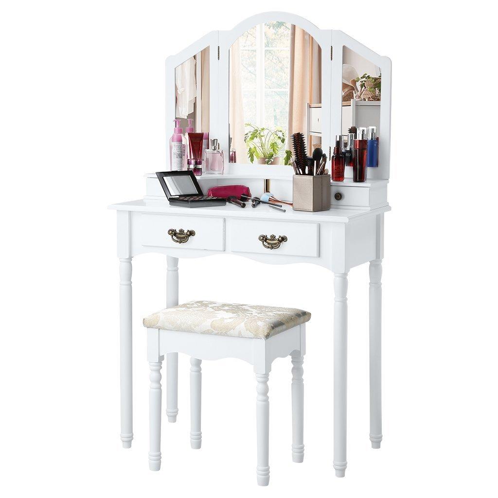 Langria Tocador con espejo plegable color blanco